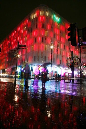 England, London, Wardour Street. W Hotel on the corner of Wardour Street and Leicester Square. : Stock Photo