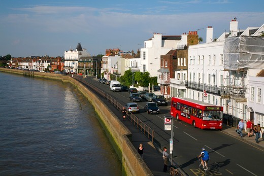 Stock Photo: 4282-32823 England, London, Barnes. The Terrace running alongside the River Thames at Barnes.