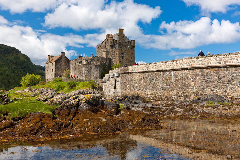 Scotland, Highland, Dornie. A view toward Eilean Donan castle and Loch Duich. : Stock Photo