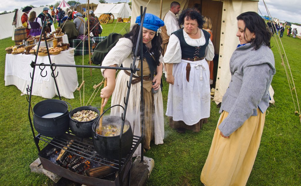Stock Photo: 4282-3300 Scotland, Lanarkshire, Lanark. Medieval food being prepared at Lanark 2011, Scotland's Festival of History.
