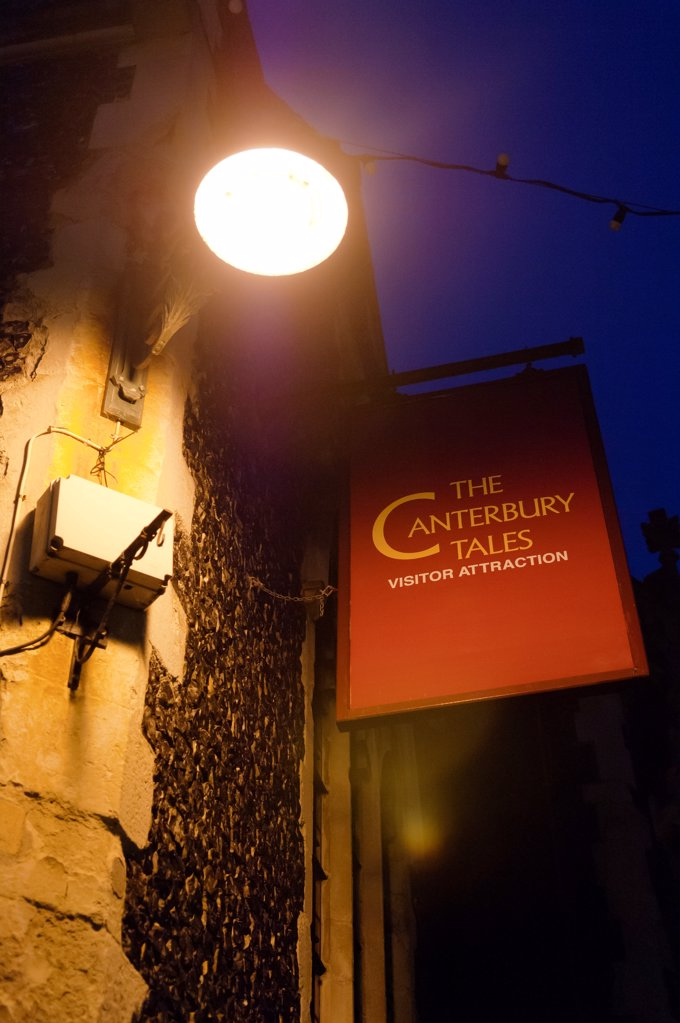 Stock Photo: 4282-33025 England, Kent, Canterbury. Sign for The Canterbury Tales visitor attraction.