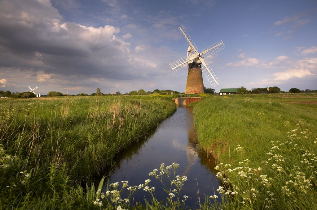 Stock Photo: 4282-3736 England, Norfolk , St. Benet's Mill. A view toward St. Benet's Mill on the Norfolk Broads.