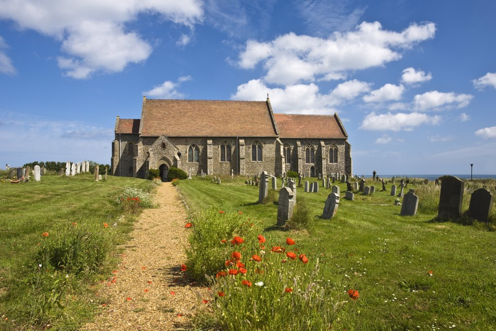 Stock Photo: 4282-3796 England, Norfolk, Mundesley. A view toward All Saints Church in Mundesley.