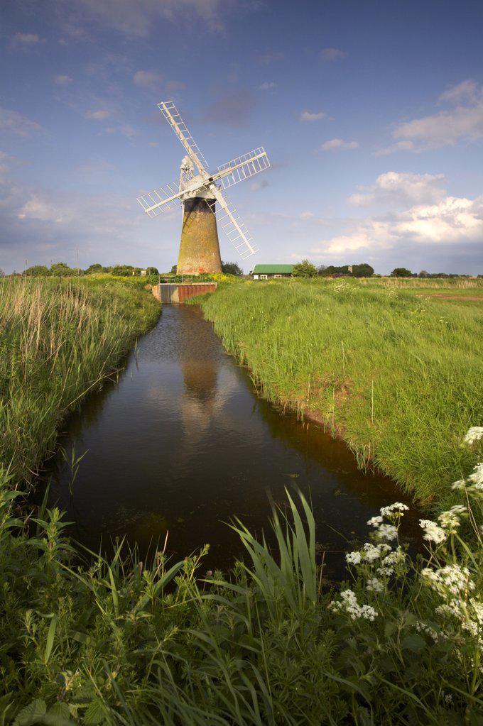 Stock Photo: 4282-3812 England, Norfolk, St. Benets Windmill. St. Benets windmill on the Norfolk Broads.