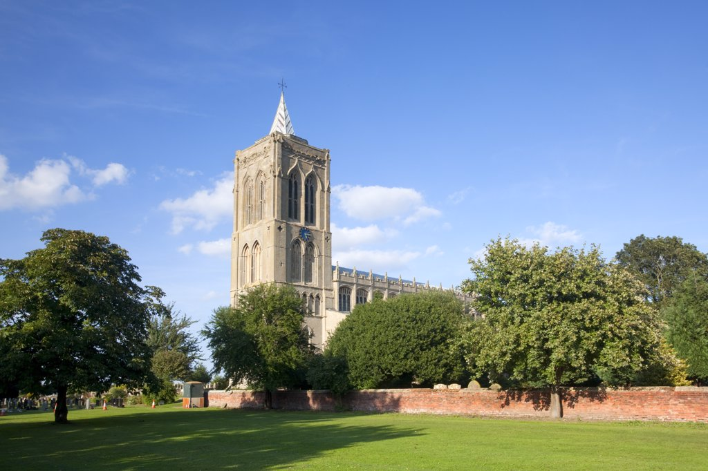 Stock Photo: 4282-4431 England, Lincolnshire, Gedney. The medieval church of St Mary Magdalene, known as the Cathedral of the Fens, in the village of Gedney.