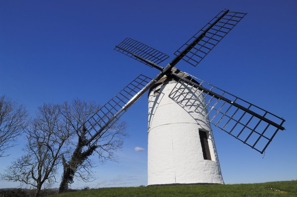 Stock Photo: 4282-4557 England, Somerset, Chapel Allerton. Ashton Windmill in Somerset. This 18th Century flour mill is the only complete windmill left in Somerset.