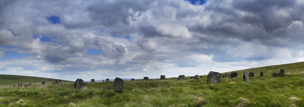 Stock Photo: 4282-4838 England, Devon, Postbridge. Grey Wethers stone circles near Postbridge in the Dartmoor National Park.