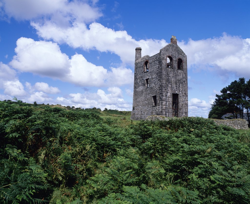 Stock Photo: 4282-4954 England, Cornwall, Minions. South Wheal Phoenix engine house, now the Heritage Centre, on Bodmin Moor at Minions.