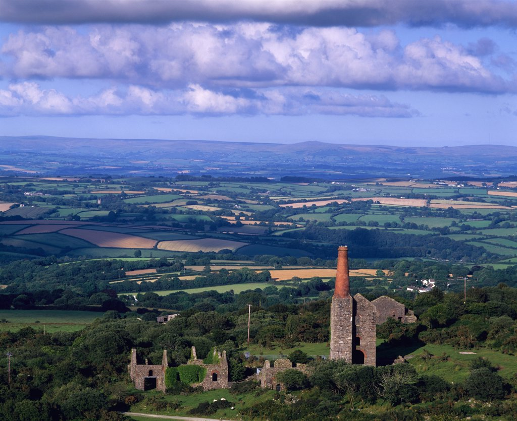 Stock Photo: 4282-4961 England, Cornwall, Minions. The Prince of Wales Mine on Bodmin Moor and the Tamar Valley, Minions.