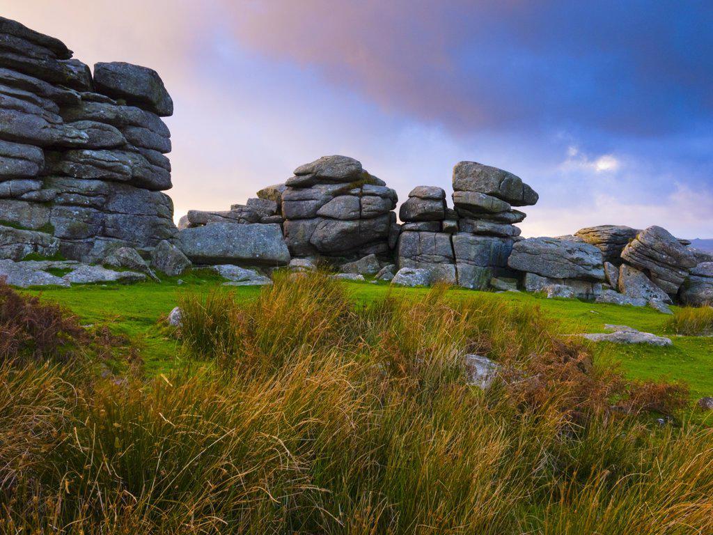 Stock Photo: 4282-5083 England, Devon, near Hexworthy. Combestone Tor in Dartmoor National Park near Hexworthy.