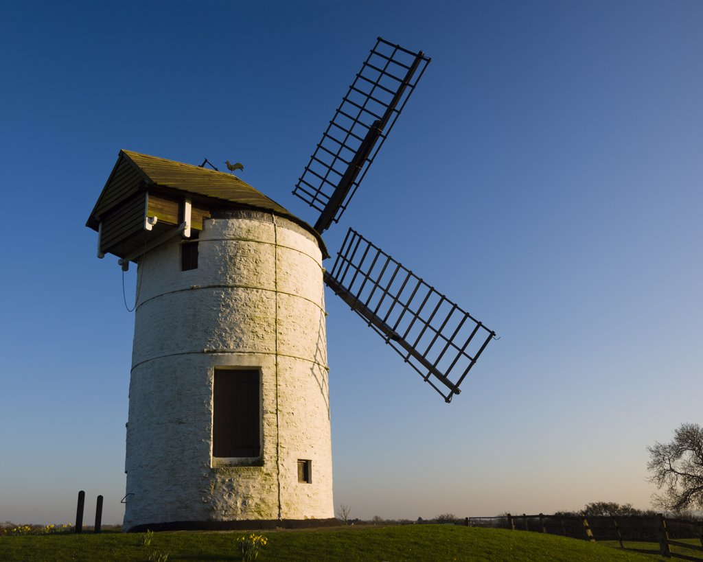 Stock Photo: 4282-5207 England, Somerset, Chapel Allerton. Ashton Windmill, a tower mill dating from the 18th century.