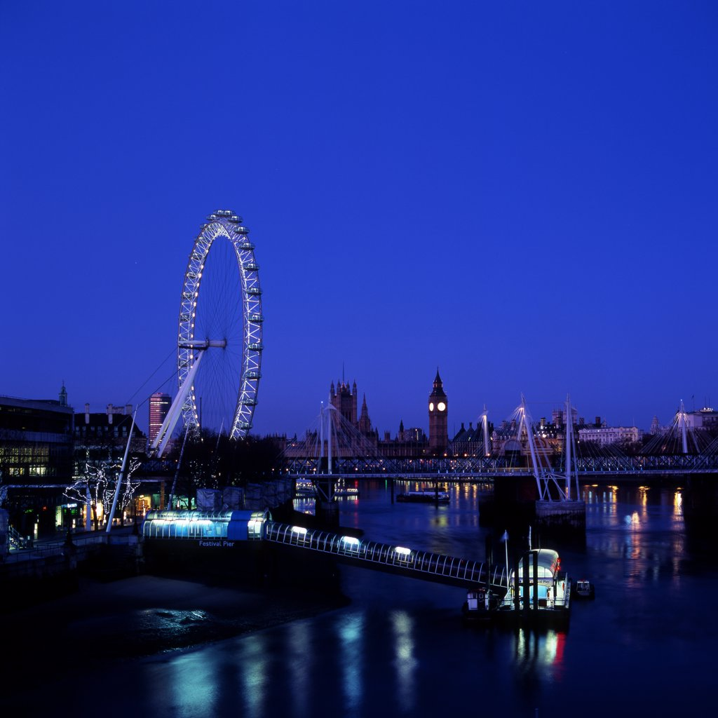 Stock Photo: 4282-5343 England, London, Southbank. London Eye at night. Opened in 1999, it is the largest observation wheel in the world.
