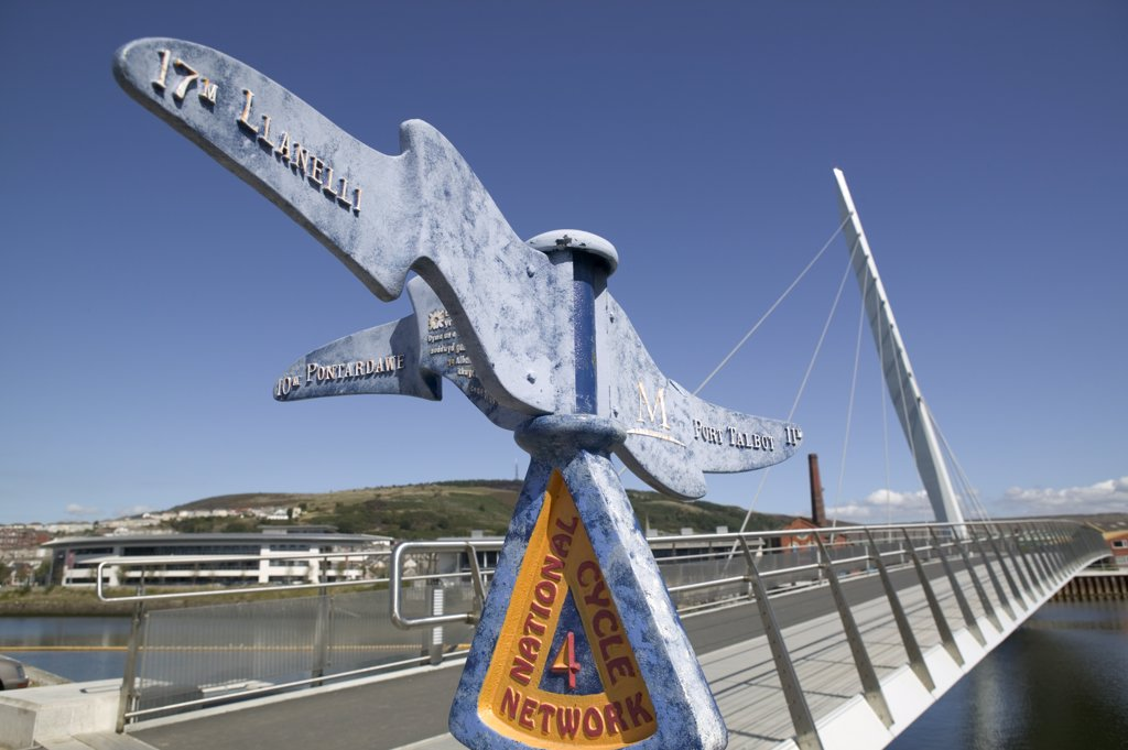 Stock Photo: 4282-5628 Wales, Swansea, Swansea Marina. A sign with directions on the bridge at Swansea Marina.