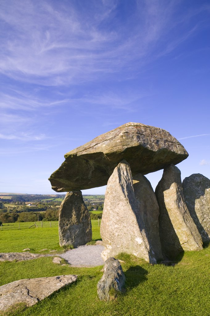 Stock Photo: 4282-5716 Wales, Pembrokeshire, Preseli Hills. Pentre Ifan Burial Chamber at Preseli Hills in Pembrokeshire.