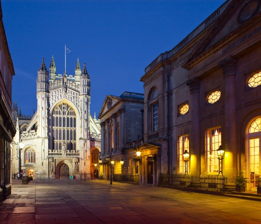 Stock Photo: 4282-6115 England, Bath and North East Somerset, Bath. Bath Abbey at twilight. The Abbey was founded in 1499 on the site of an earlier Norman Cathedral and the original Abbey Church built in the 8th century.