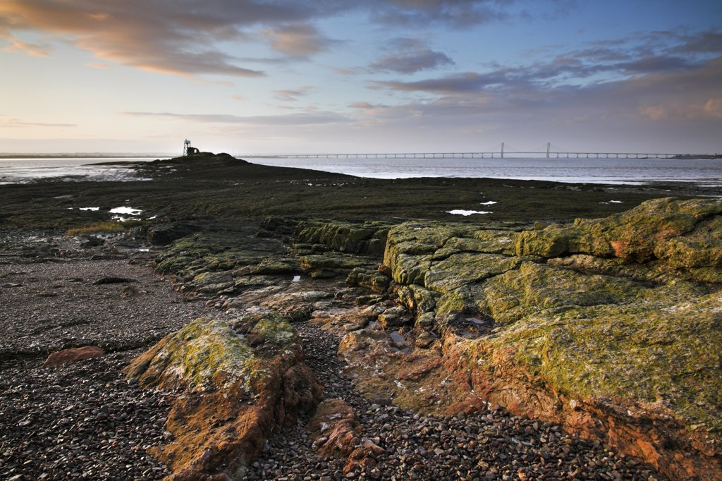 "Stock Photo: 4282-6301 Wales, Monmouthshire, Chepstow. Lighthouse at Beachley Point in the river Severn Estuary. In Arthurian legend, Beachley is considered to be Aber Gwy (""""The Mouth of the Wye"""")."