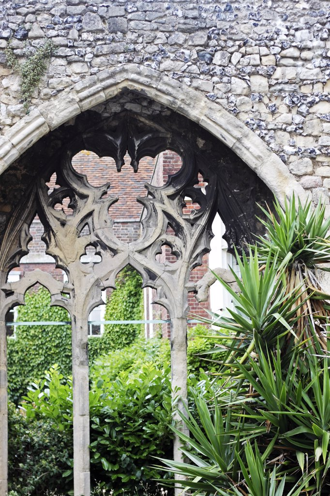 Stock Photo: 4282-6448 England, Kent, Canterbury. Gothic architecture in the Precinct Gardens of Canterbury Cathedral.