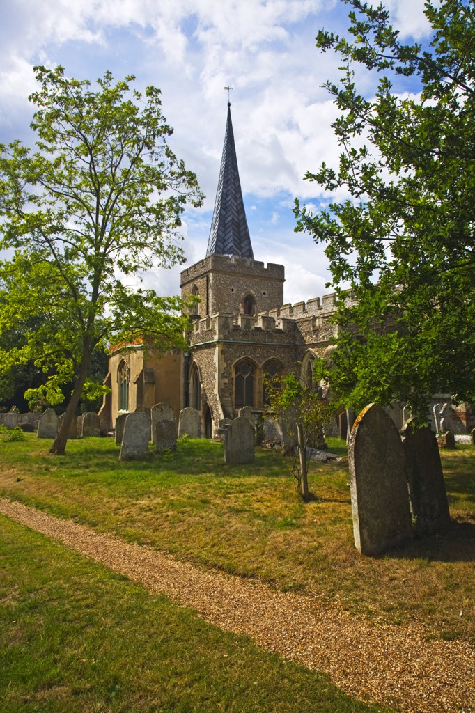 Stock Photo: 4282-6549 England, Hertfordshire, Stevenage. St Nicholas, the Grade 1 listed ancient parish church of Stevenage.
