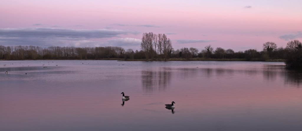 Stock Photo: 4282-6592 England, Wiltshire, Lower Moor Farm Nature Reserve. Winter sunset over Mallard Lake at the Lower Moor Farm Nature Reserve.