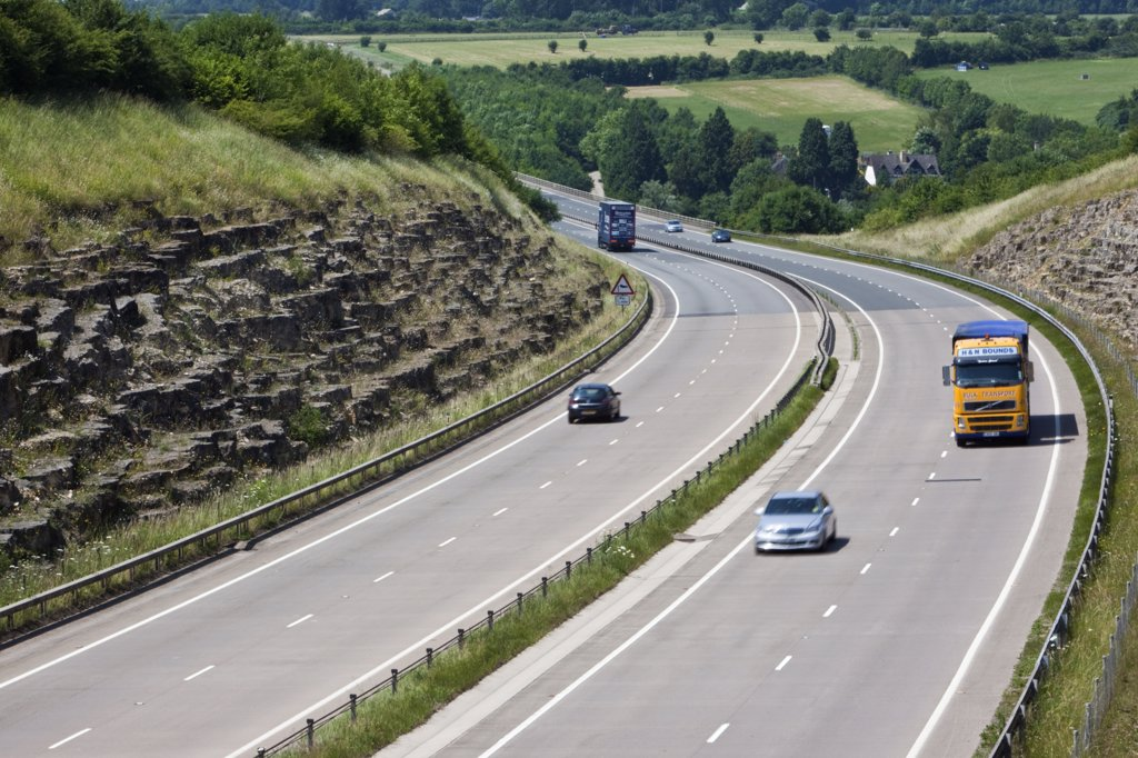 Stock Photo: 4282-6614 England, Gloucestershire, -. Traffic on the A417 dual carriageway.