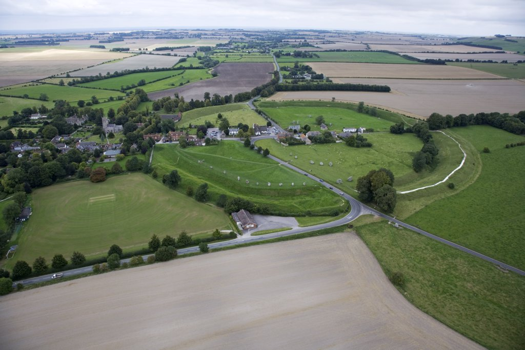 England, Wiltshire, Avebury. Aerial view of Avebury stone circle and village. : Stock Photo
