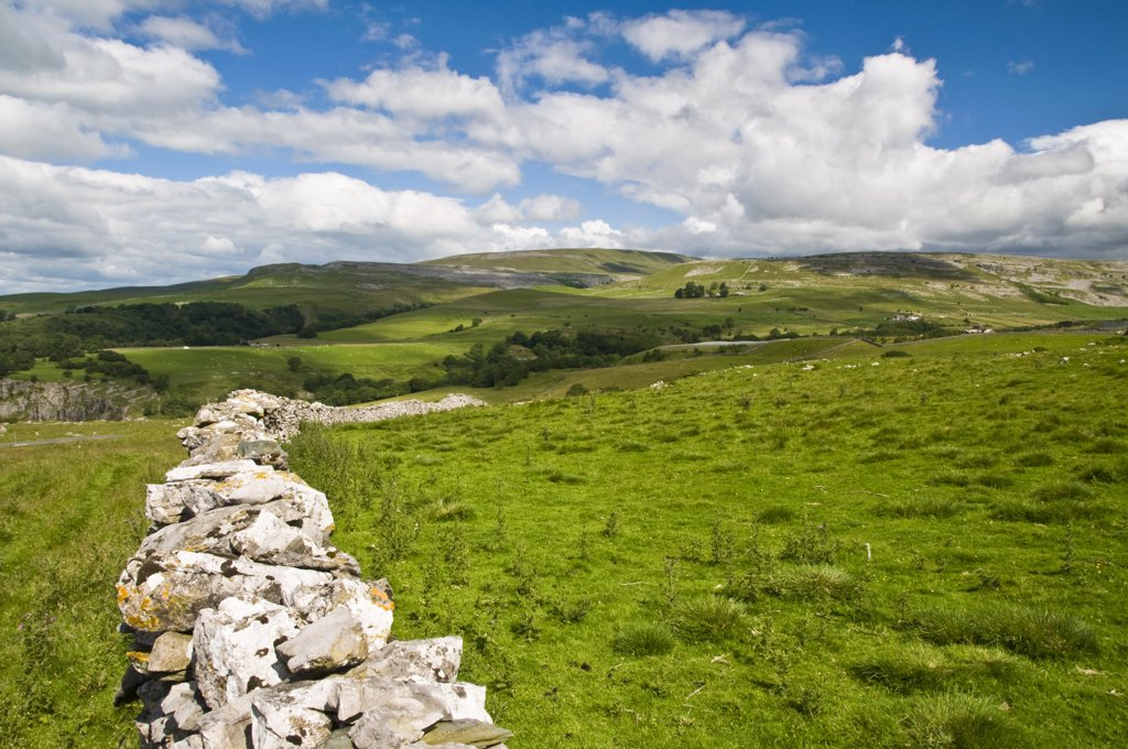 England, North Yorkshire, Ingleton. Traditional dry stone wall just outside Ingleton in the Yorkshire Dales. : Stock Photo