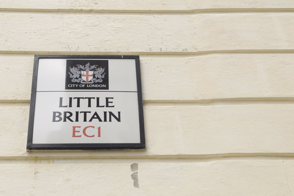 Stock Photo: 4282-7112 England, London, City of London. Little Britain street sign in EC1, also the name of a popular television comedy programme.