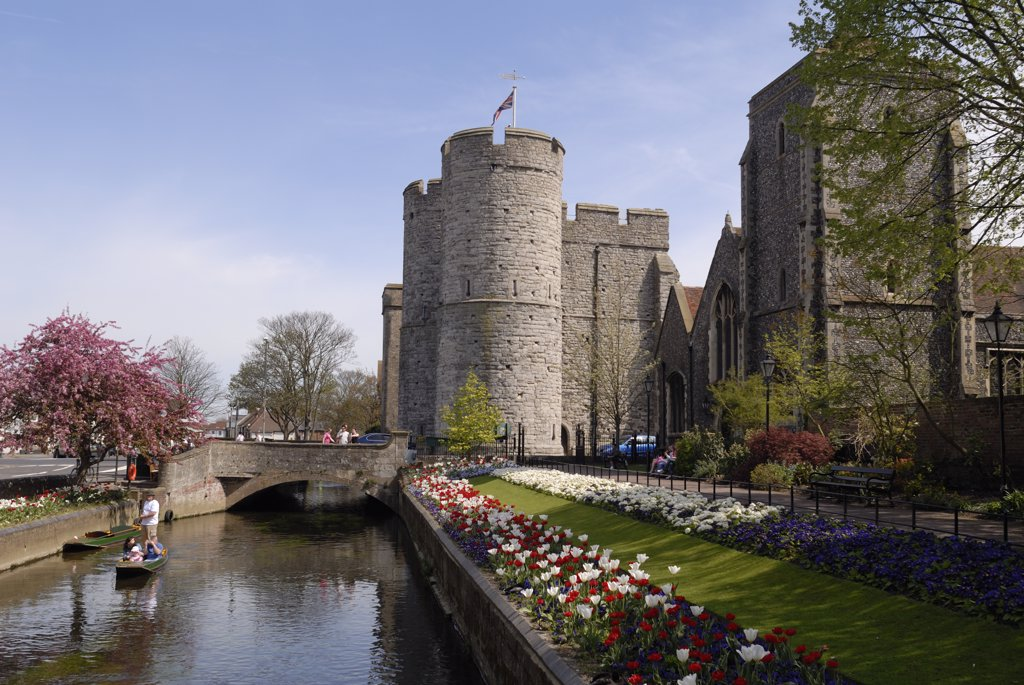 Stock Photo: 4282-7217 England, Kent, Canterbury. A view of the Westgate Towers and River Stour. The Westgate Towers marked the western entrance into the city of Canterbury.