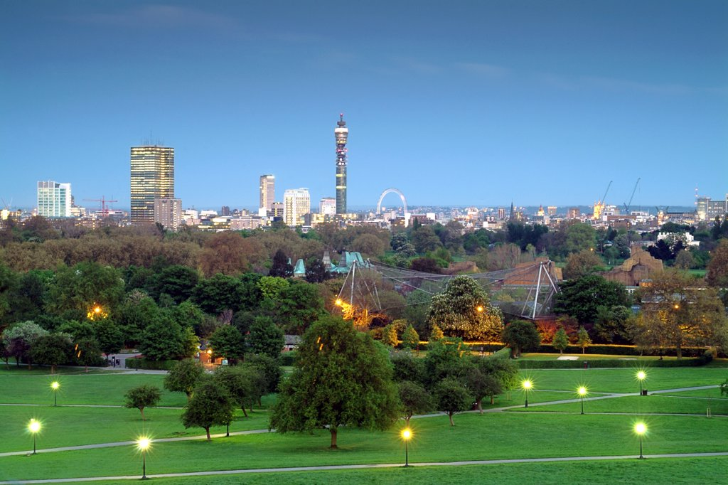 England, London, Primrose Hill . A view of the London skyline from Primrose Hill showing the BT Tower and the London Eye. : Stock Photo