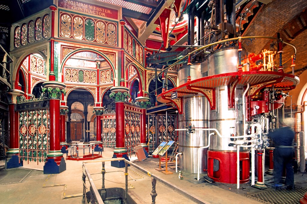 Stock Photo: 4282-7666 England, London, Bexley. The ornate interior of the Victorian era Crossness Pumping station in East London.