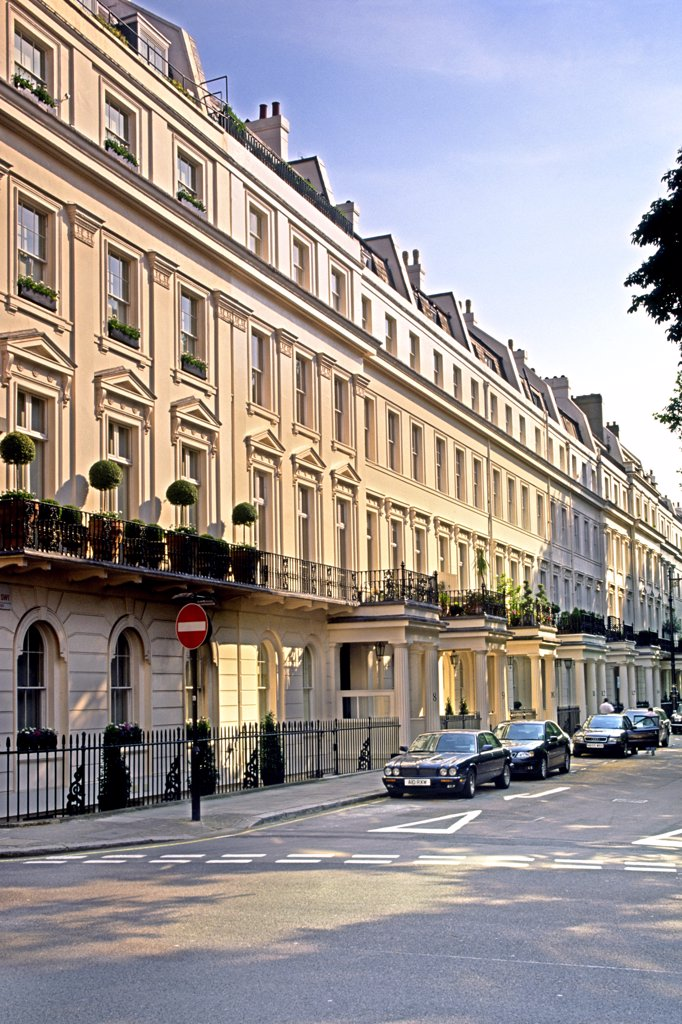 Stock Photo: 4282-7686 England, London, Belgravia. An exterior shot of the neo classical terraces of Eaton Square in Belgravia.