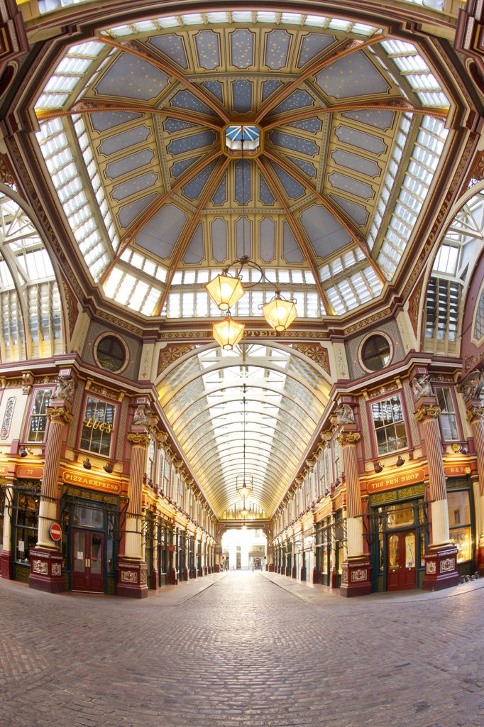 Stock Photo: 4282-7728 England, London, The City of London. The interior of Leadenhall market, an historic covered market standing at what was the centre of Roman London.