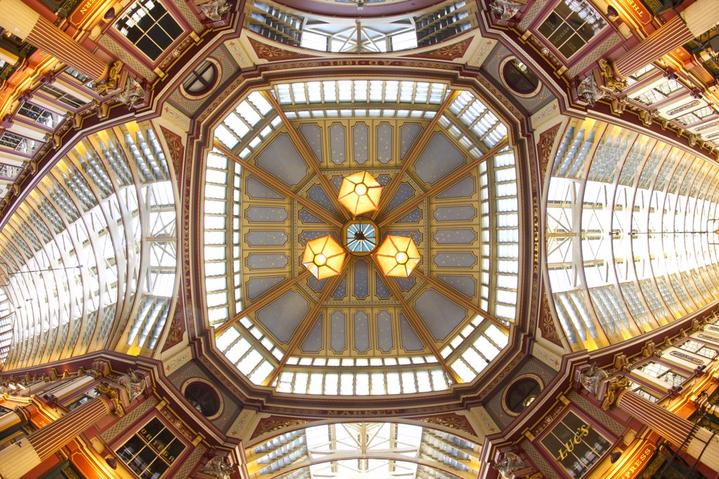 England, London, The City of London. The ornate roof of Leadenhall market, an historic covered market standing at what was the centre of Roman London. : Stock Photo