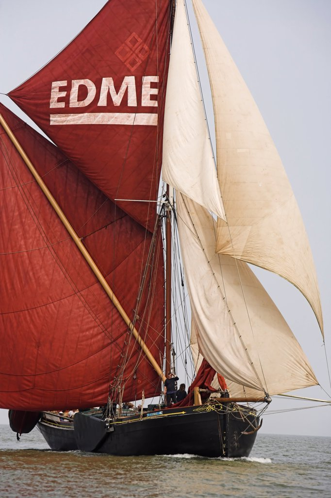 Stock Photo: 4282-7852 England, Kent, Chatham. A traditional Thames sailing barge on the River Medway.