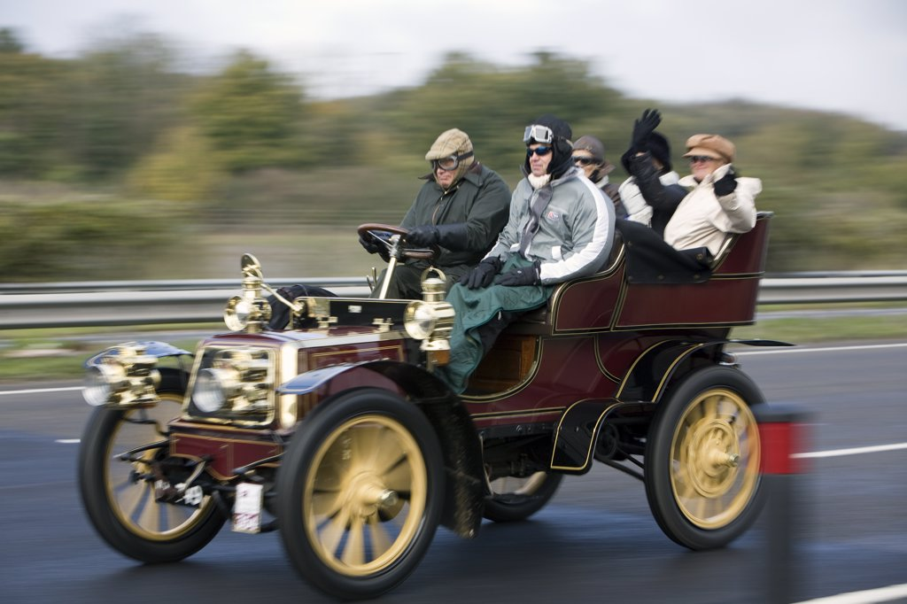 Stock Photo: 4282-7901 England, City of Brighton and Hove, Brighton. Participants in the London to Brighton veteran car run on the A23 approaching Brighton.