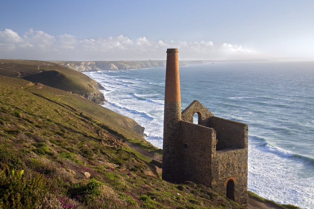 Stock Photo: 4282-7921 England, Cornwall, St Agnes. Looking south along the North Cornwall coast from Wheal Coates tin mine.