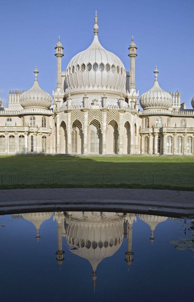 England, City of Brighton and Hove, Brighton. Reflections in the water of Brighton Pavillion. : Stock Photo
