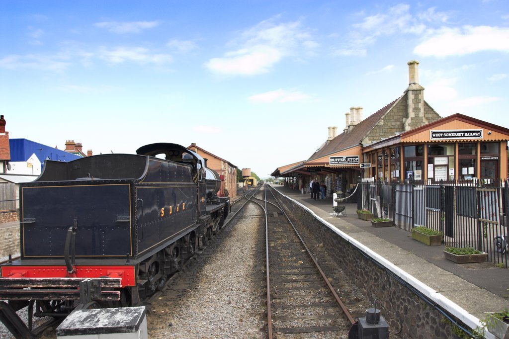 Stock Photo: 4282-7976 England, Somerset, Minehead. A steam engine at Minehead Station, now the terminus and headquarters of the West Somerset Railway, a heritage railway.