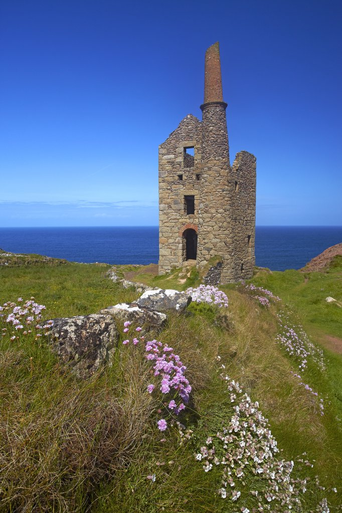 Stock Photo: 4282-8149 England, Cornwall, Botallack. Remains of a Botallack tin mine building in the St Just Mining District on the Cornish coast.