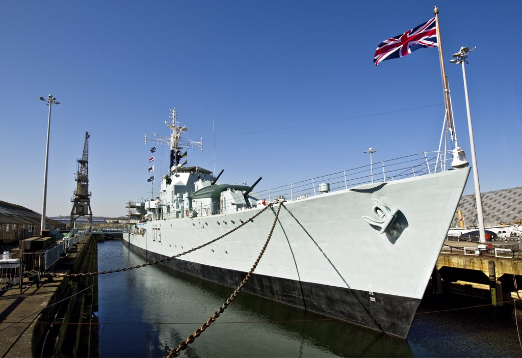 Stock Photo: 4282-8421 England, Kent, Chatham. HMS Cavalier (D73), the Royal Navy's last operational Second World War destroyer in her dock at the Historic Dockyard Chatham.