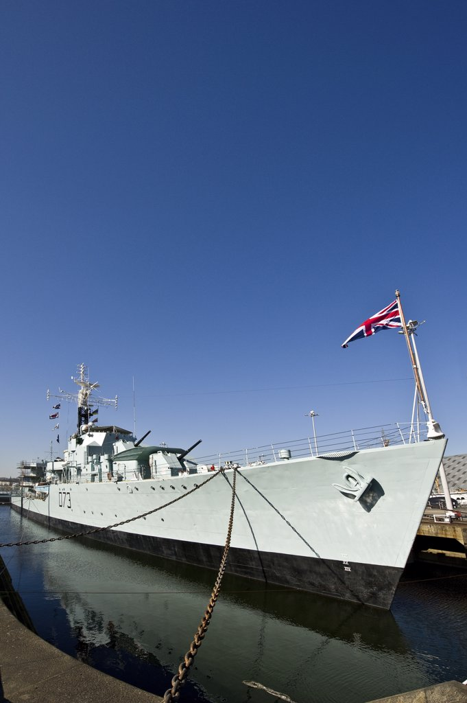 Stock Photo: 4282-8422 England, Kent, Chatham. HMS Cavalier (D73), the Royal Navy's last operational Second World War destroyer in her dock at the Historic Dockyard Chatham.