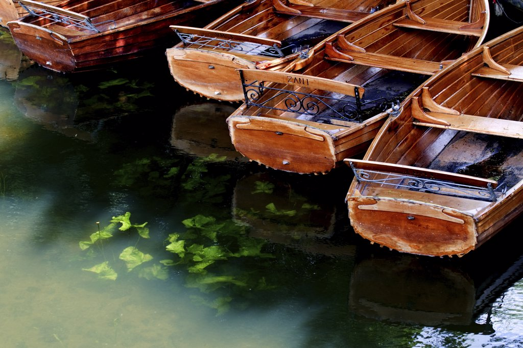 Stock Photo: 4282-8501 England, Essex, Dedham. Rowing boats available for hire on the River Stour in Dedham.