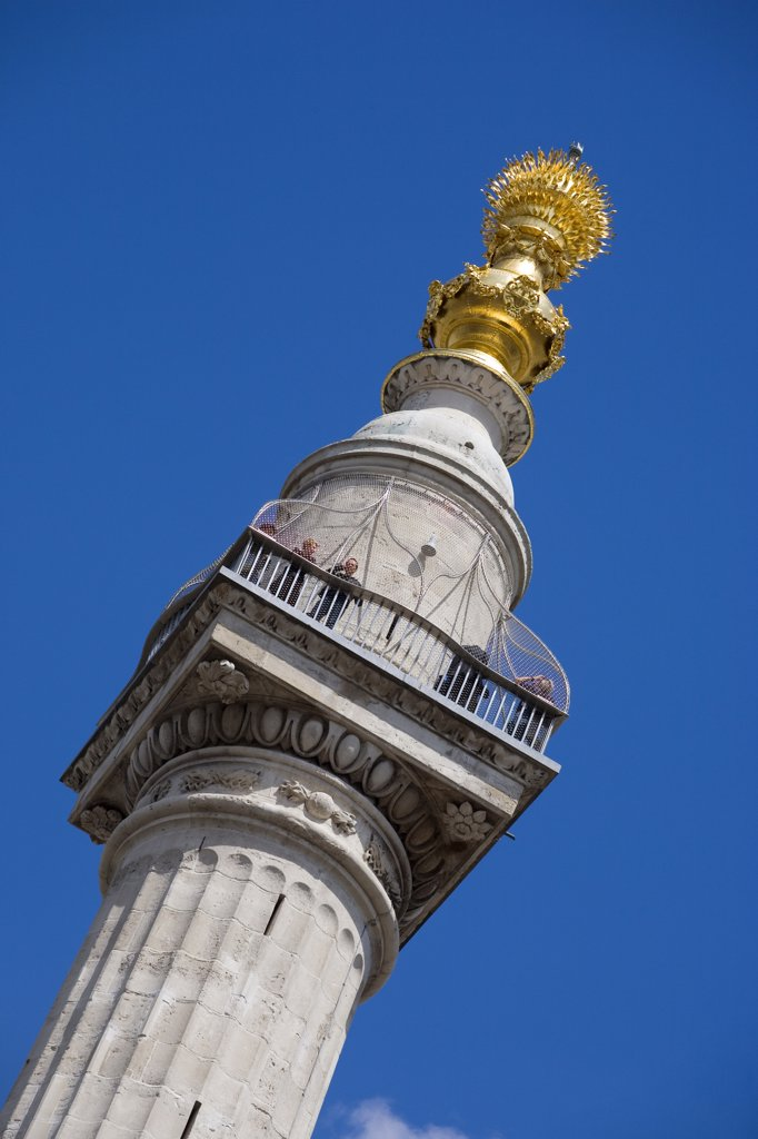 Stock Photo: 4282-9092 England, London, City of London. The Monument to the Great Fire of London.