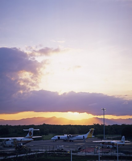 LE RAIZET AIRPORT AND SUNSET GUADELOUPE FRENCH WEST INDIES : Stock Photo