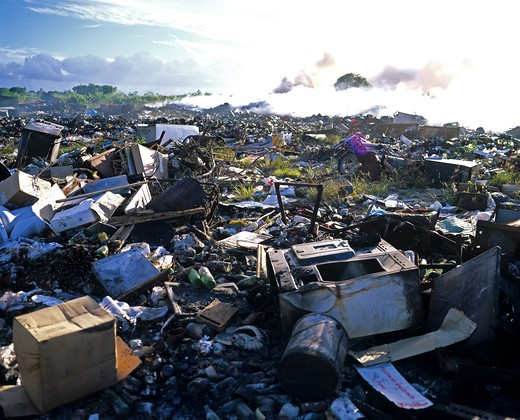 RUBBISH DUMP AND FIRE SMOKE GUADELOUPE FRENCH WEST INDIES : Stock Photo