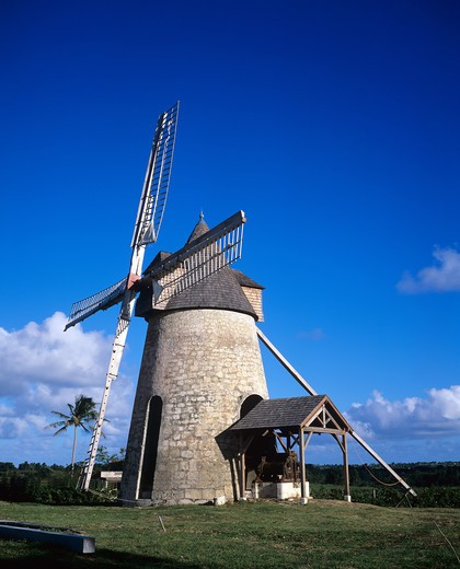 Stock Photo: 4285-10152 RENOVATED WINDMILL GUADELOUPE FRENCH WEST INDIES