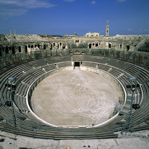 AMPHITHEATRE ROMAN ARENAS NIMES PROVENCE FRANCE : Stock Photo