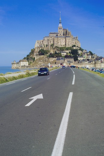 Stock Photo: 4285-10454 ROAD TO MONT-ST-MICHEL NORMANDY FRANCE