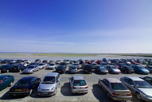 Stock Photo: 4285-10457 CAR PARK ASIDE MONT-ST-MICHEL NORMANDY FRANCE