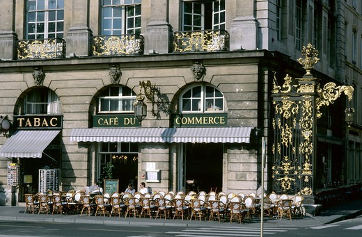 Stock Photo: 4285-10524 CAFE DU COMMERCE SIDEWALK CAFE AND GILT WROUGHT-IRON RAILINGS PLACE STANISLAS SQUARE NANCY LORRAINE FRANCE
